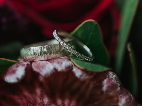 Handmade White gold wedding rings