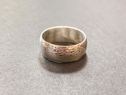 Textured sterling silver Ring made in a Pod Jewellery Workshop