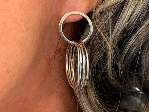 Silver earrings made in the Intensive Beginners Jewellery Short Course