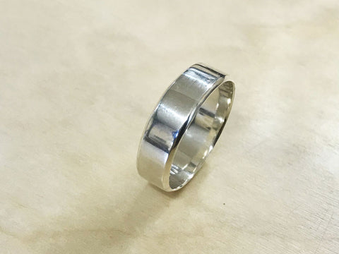 Mens silver wedding ring