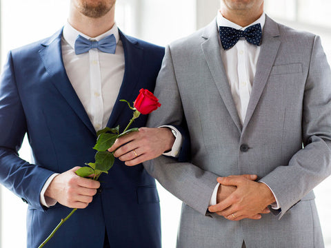 Same-sex male couple at their wedding