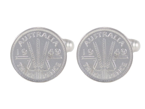 Australian Threepence Coin Cufflinks Silver | 60th birthday gift ideas | Pod Jewellery