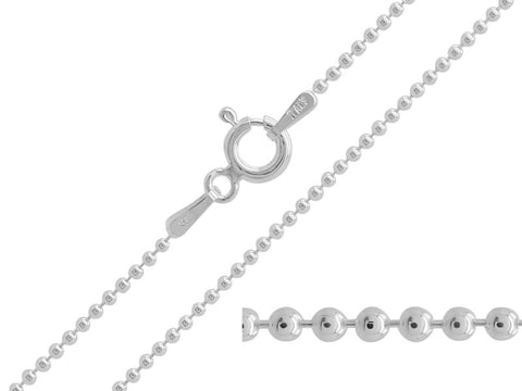 Sterling Silver Fine Ball Chain Necklace - Pod Jewellery