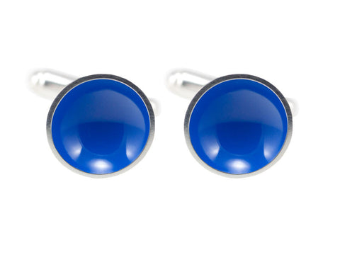 Blue Sterling Silver Half Pod Cufflinks