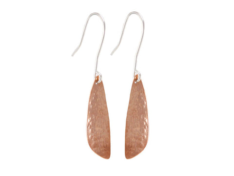 Copper Dragonfly Wing Drop Earrings