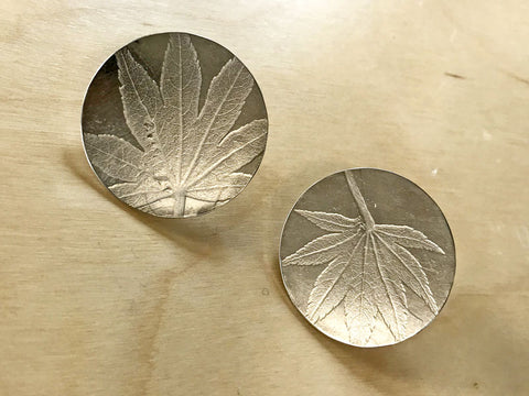 Embossed silver earrings made in the Half Day Silver Earring Making Workshop - Pod Jewellery