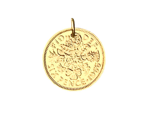 Yellow Gold British Sixpence Coin Pendant or Charm - 1964, 1965, 1966, 1967