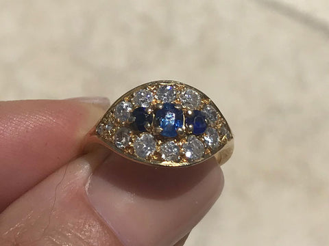 Handmade 18ct Yellow Gold, Sapphire and Old European Cut Diamond Ring