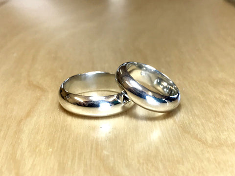 Two polished chunky rings made in the Silver Ring Making Workshop - Pod Jewellery