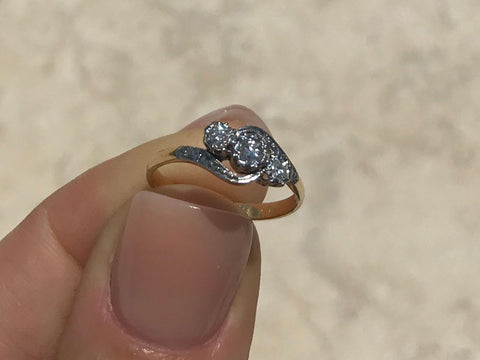 18ct Yellow Gold and Platinum Tapered Three Diamond Ring