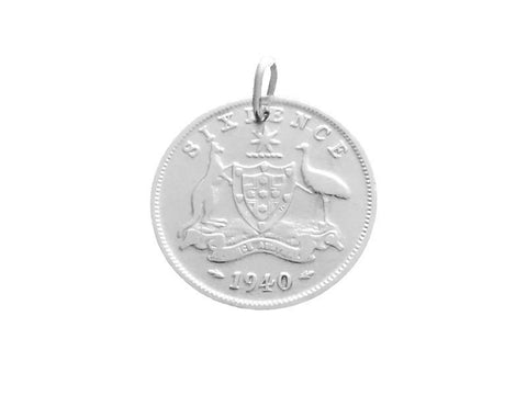 Sixpence coin pendant or charm