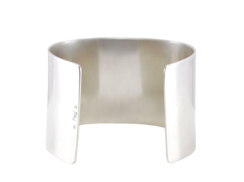 Polished sterling silver 4cm wide cuff