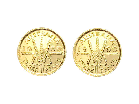Yellow Gold Australian Threepence Coin Stud Earrings
