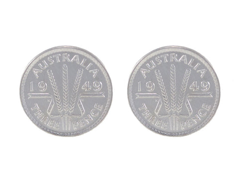 Silver Australian Threepence Coin Stud Earrings - Pod Jewellery