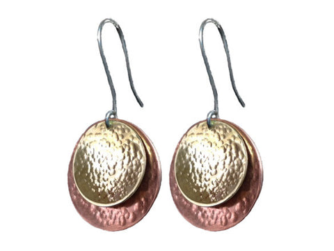 Copper and brass earrings with silver hooks