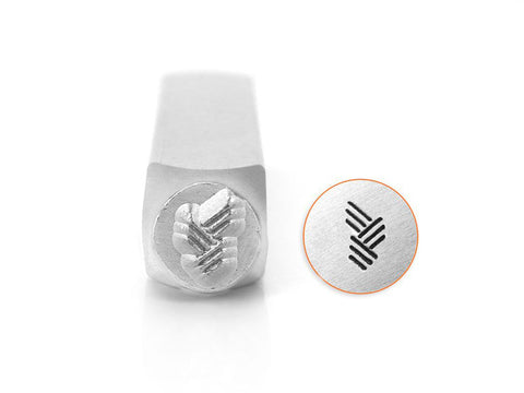 ImpressArt Vertical Angled Line Texture Design Stamp - 6mm | Jewelry stamp