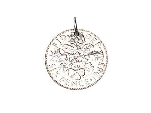 British Sixpence Coin Pendant or Charm - 1964, 1965, 1966, 1967