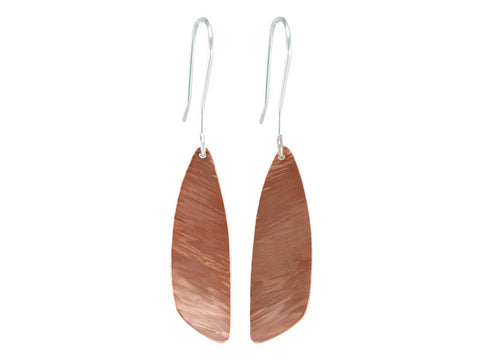 Copper dragonfly wing earrings with sterling silver hooks