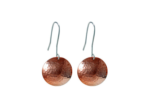 Copper domed earrings with sterling silver hooks