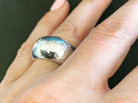 Hammer textured silver ring - Pod Jewellery
