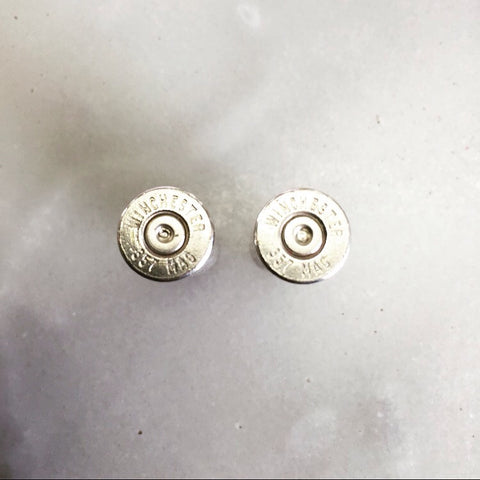 Silver Winchester .357 Magnum stud earrings