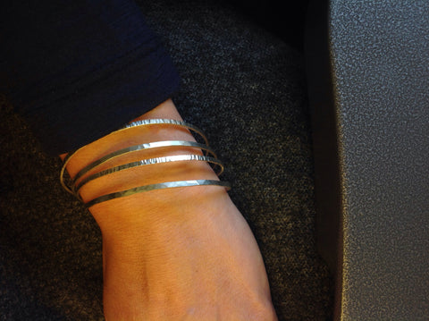 Sterling silver textured bangles
