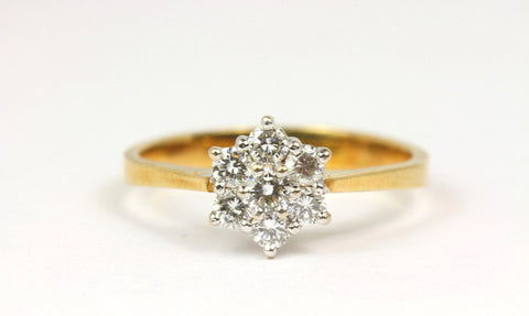 Dainty 18ct Yellow Gold Daisy Diamond Cluster Engagement Ring