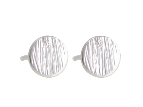 Micro sterling silver full moon studs