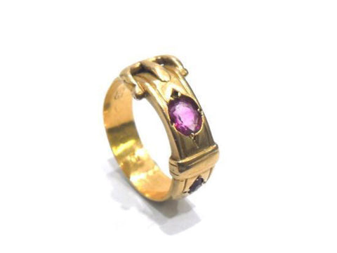 Antique English 18ct Yellow Gold and Ruby Buckle Friendship Ring