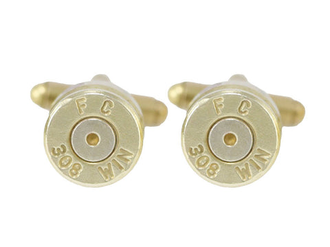 308 brass shell casing cufflinks - Bullet Jewellery