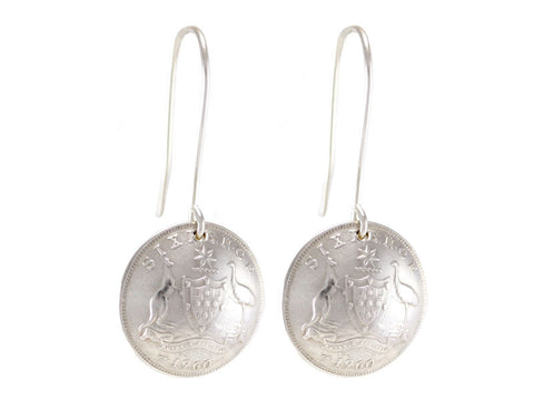 Australian Sixpence Coin Drop Earrings with Sterling Silver Hooks
