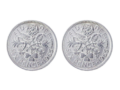 1965 British sixpence cufflinks silver - Pod Jewellery