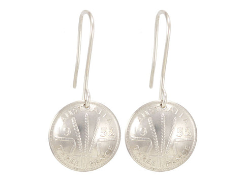 Australian threepence coin silver drop earrings