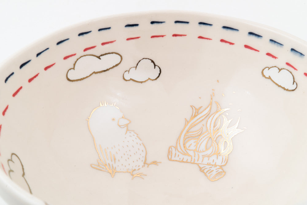 Anxious Snowman with Campfire Ramen Bowl (b-799)
