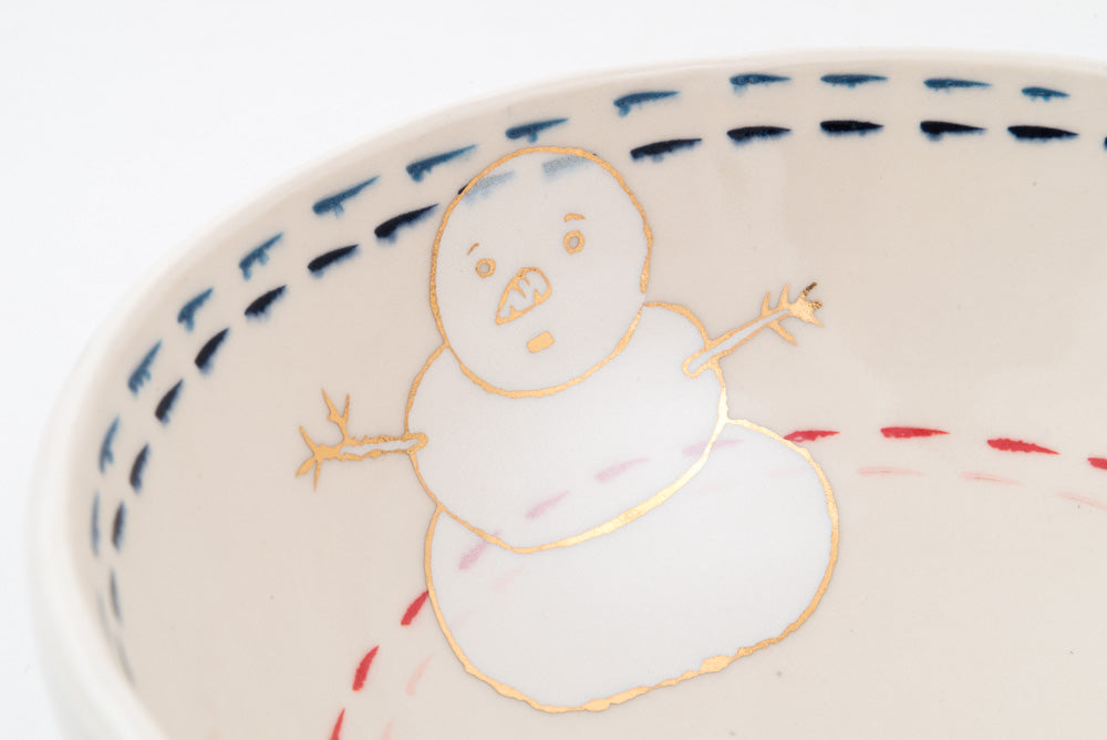 Anxious Snowman and Campfire Ramen Bowl (b-804)