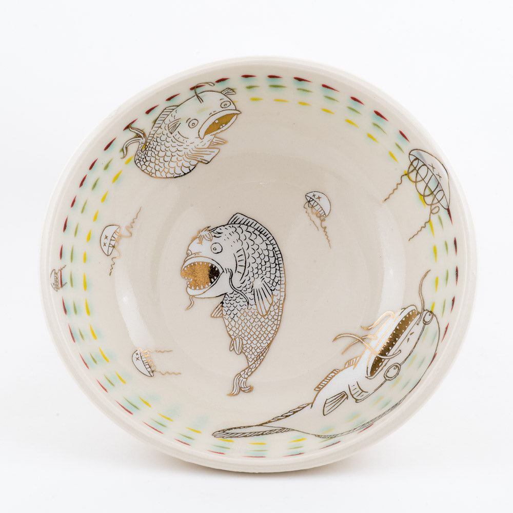 Fish, Jellyfish, and Bandaid Bowl (b-866)