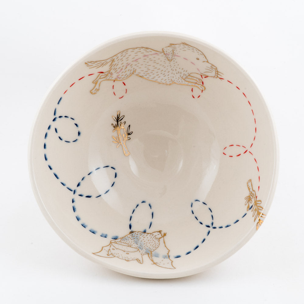 Bat, Dog, and Branches Ramen Bowl (b-873)