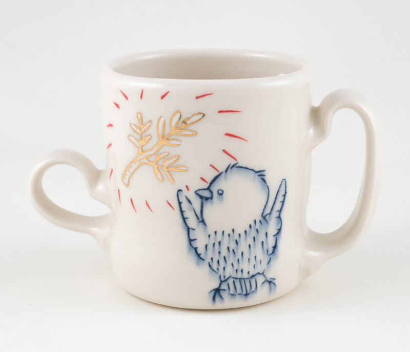 Bird and Branch Two Handled Cup (c-2326) 10 fl oz