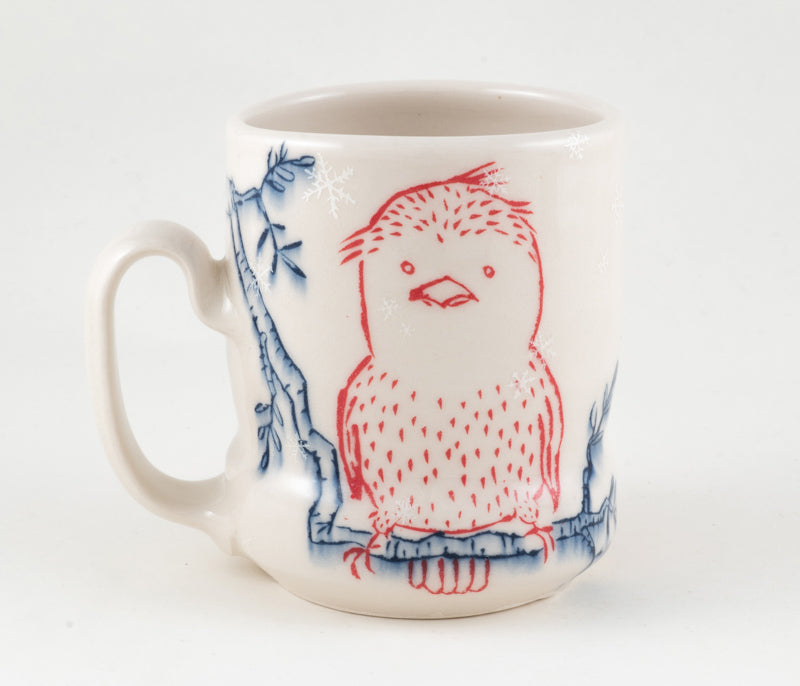 Birds on Branch in Snowfall Cup (c-2339) 16 fl oz