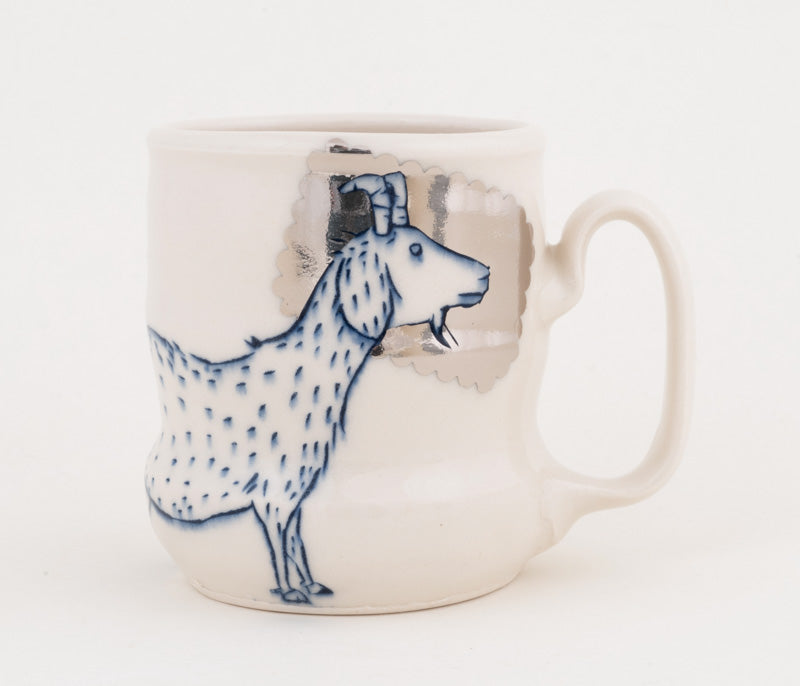 Goat and Bird with Silver Luster Cup (c-2366) 12 fl oz