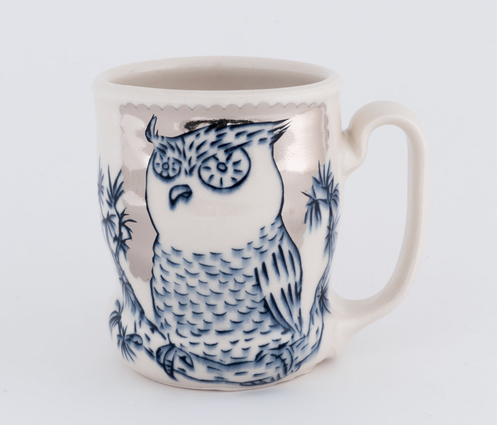 Owl with Silver Luster Cup (c-2419) 15 fl oz