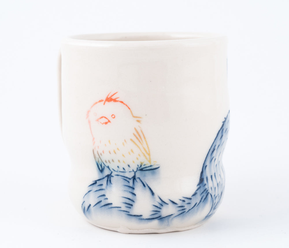 Raccoon and Multi-color Bird Cup (c-2423) 9 fl oz