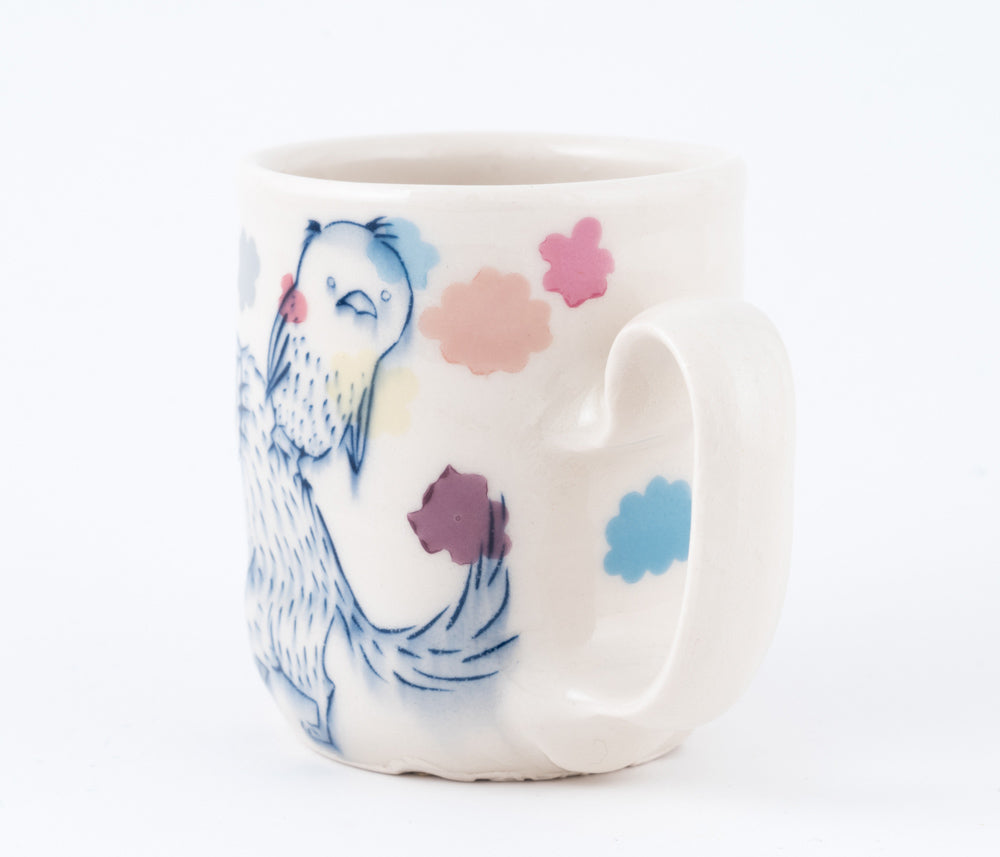 Dog and Bird with Multi-color Clouds Cup (c-2424) 8 fl oz