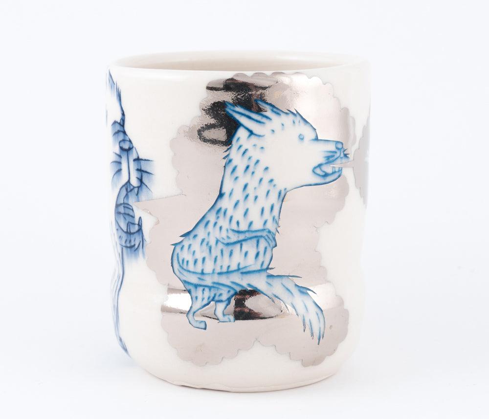 Dog, Fox and Bird with Silver Luster Cup (c-2442) 16 fl oz