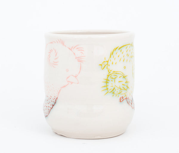 Bi-color Dog and Bird Cup (c-2568) 14 fl oz