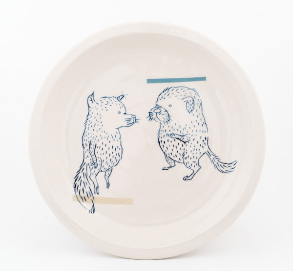 Floating Fox and Dog Plate (pd-317)