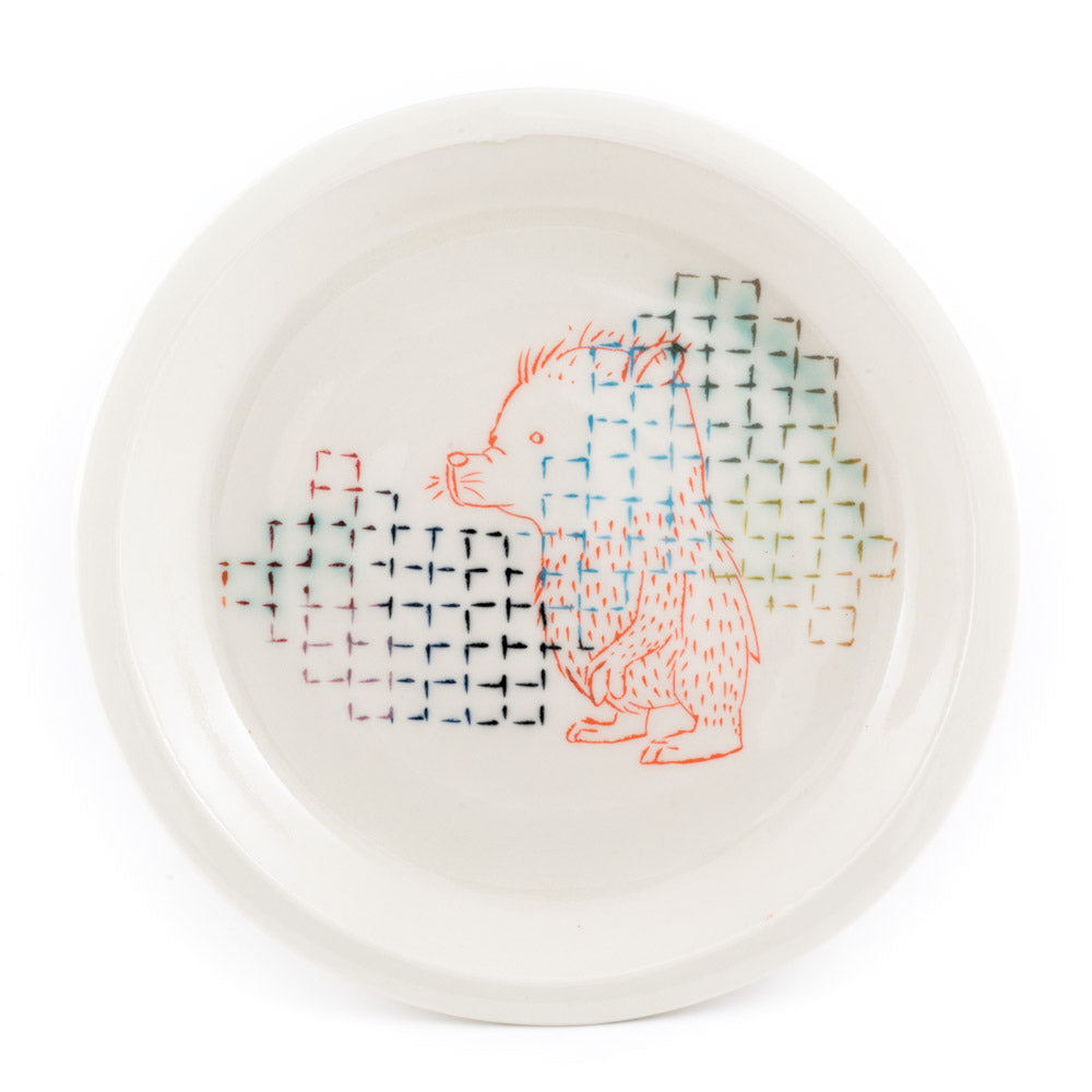 Bear Grid Dinner Plate (pd-340)