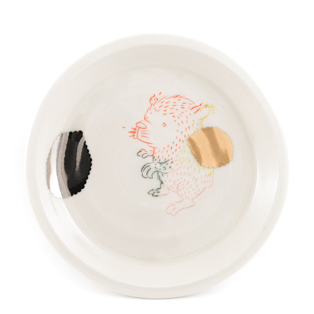 Gold, Silver, and Bear Dinner Plate (pd-352)