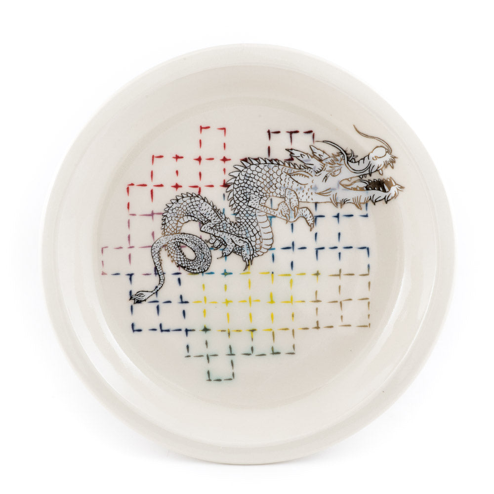 Dragon and Grid Dinner Plate (pd-354)