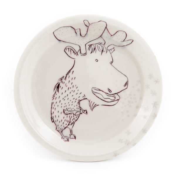 Moose Breathing Snow Dinner Plate (pd-362)